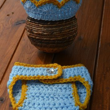 Baby Crown And Diaper Cover Set Newborn Boy Photo Prop