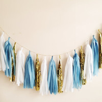 Cinderella Blue, White and Gold Tassel Garland -Spring, Easter, Party Decor, Birthday Party, Weddings, Nursery, & Photo Prop