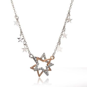 Star Crystal Double Pentagram Rhinestone Necklace