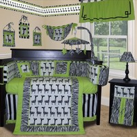 Baby Boutique - Lime Zebra - 13 pcs Crib Nursery Bedding Set