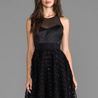 Milly Emb Tulle Chevron Detail Party Dress in Black
