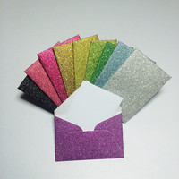 Mini glitter envelopes with tiny note cards 1x1.5""