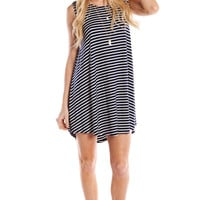 STRIPED FULL SWING TANK DRESS - NAVY