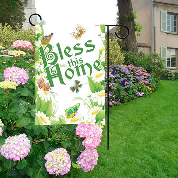 "Bless This Home Floral Garden Flag 12""x18"""
