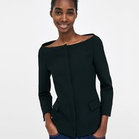 BLAZER WITH OPEN NECKLINE DETAILS