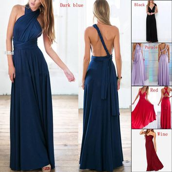 2018 Summer Sexy Women Wrap Maxi Dress Bandage Halter Bridesmaid Party Sleeveless Bandage Multiway Convertible Dress