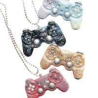 Kawaii Gamer Play Station Remote Controller Necklace Pendant