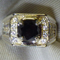 2.66 Carat Mens Black Diamond Ring In Wood Box With Appraisal Certificate