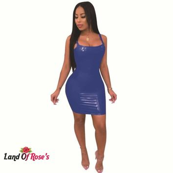 Plus Size PU Leather Spaghetti Strap Sleeveless Backless Dress