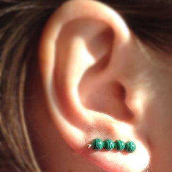 Green Ear Pin Earrings, Malachite Ear Climber, Sterling Silver Ear Cuff, Gemstone Ear  Pin Earrings, Dark Green Boho Pin Earrings