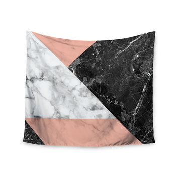 "KESS Original ""Geo Marble and Coral"" Black Art Deco Wall Tapestry"