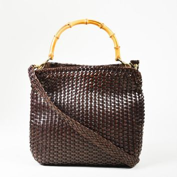 VINTAGE Gucci Brown Woven Leather Bamboo Handle Shoulder Bag
