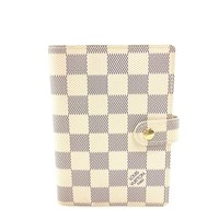 AUTH Louis Vuitton Damier Azur Canvas leather Agenda PM Notebookcase