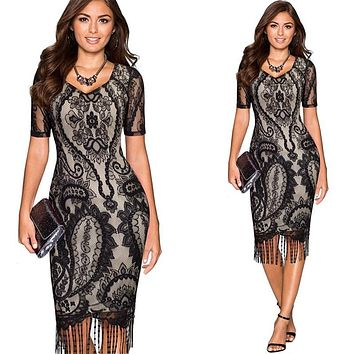Halter cold shoulder black lace dress Women sexy slim bodycon dress vestidos Elegant fringed christmas party mini dress