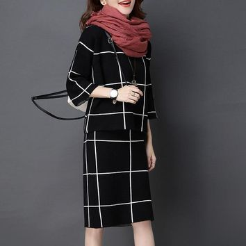 Pullover Sweat Suit  Knit Skirt Suit Plaid Top