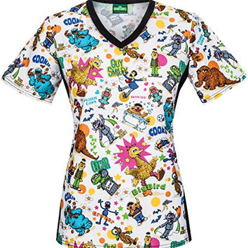 Tooniforms by Cherokee Women's V-Neck Knit Panel Sesame Street Print Scrub Top Large Print