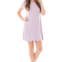 Lavender Short Sleeved Dress with Scalloped Trim
