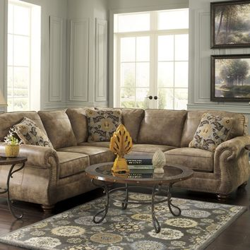 2 pc larkinhurst collection earth fabric upholstered sectional sofa with nail head trim