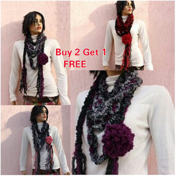 Boho Chic Scarf Fringe Scarf Purple Knit Scarf Boho Belt Hippie Scarf Wool Lariat Scarf BUY 2 GET 1 FREE  Express Shipping