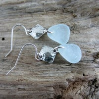 Ice Blue Genuine English Sea Glass Earrings with Sterling silver Hammered Squares, Eco Friendly Jewelry, Beach Jewelry, Diamond shaped