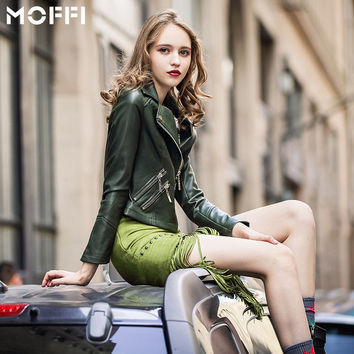 Punk Green PU Leather Tops Jacket [6308613124]