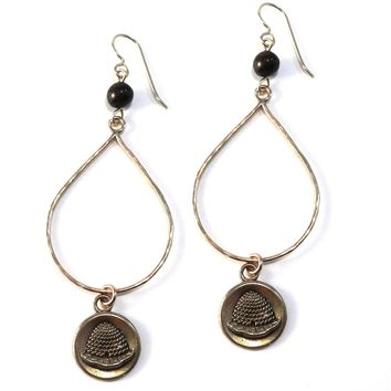 BEEHIVE Large Teardrop Antique Button Earrings - BRONZE w/ gemstone