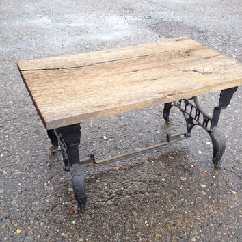 Vintage Amish Country Coffee Table with White Sewing Machine Legs
