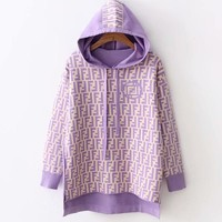 FENDI Autumn Winter Popular Women Casual Double F Letter Hoodie Knit Long Sleeve Sweater Top Sweatshirt Purple