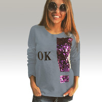 Grey Letter Print Long Sleeve Top