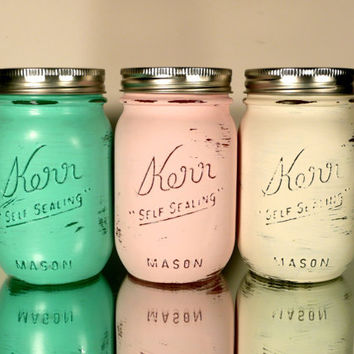 Home, Dorm or Office Decor, Painted Mason Jars - Caribbean  - Pencil Holders