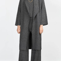 Grey Longline Knitted Duster Coat