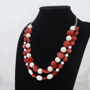 Coral Necklace, Double Strand Coral Necklace, Statement Coral Necklace, Red and White Coral Necklace, Chunky Coral Necklace