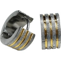 Stainless Steel Two Tone Round Huggies Hoop Earrings Striped