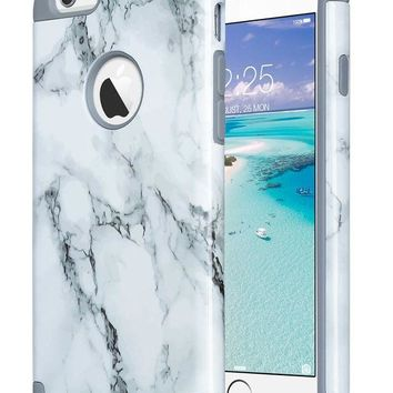 DCCK2JE iPhone 6S Case,iPhone 6 Case Marble, ULAK Slim Dual Layer Soft Silicone & Hard Back Cover Bumper Protective Shock-Absorption & Skid-proof Anti-Scratch Hybrid Case-marble pattern