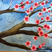 Magenta Cherry Blossom Original Watercolor Painting