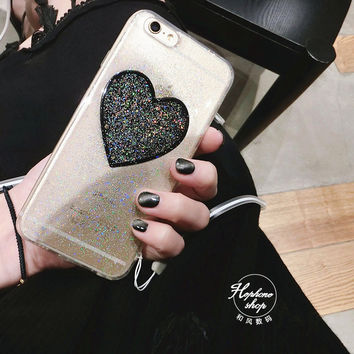 Fashion flash powder wild love flash powder for  iphone7 / 6s phone shell Apple 6plus lanyard soft shell -0325