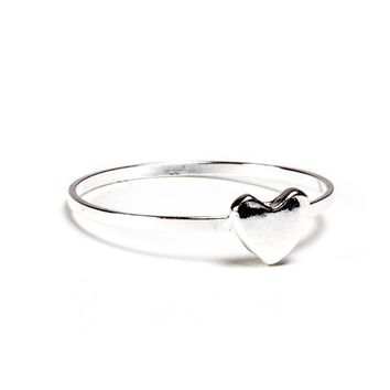 Silver Thin Heart Ring