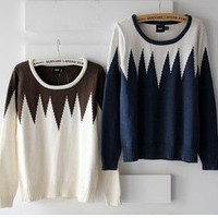 unique geometric diamond-shaped stitching color hedging Sen Department sweater