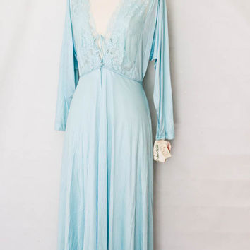 Lily of France Peignoir Night Gown Negligee Set in Blue