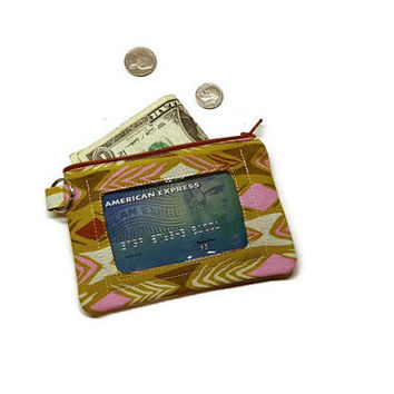 Olive green small zipper id wallet for women. Keychain wallet.