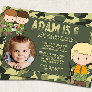 Hunting Birthday Party Invitation, green, target, outdoors, camoflage (Digital File) printable
