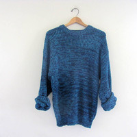 80s oversized sweater. blue knit sweater.