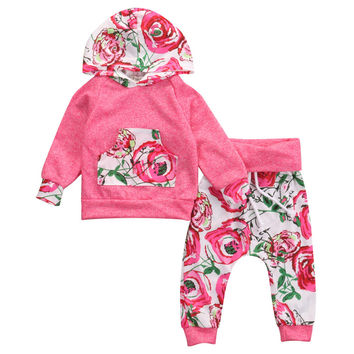 Autumn Baby Girl Clothes Floral Newborn Infant Bebes Hooded Sweatshirt Top Pant 2pcs Outfit Suit Bebek Giyim 0-18M