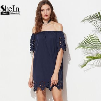 SheIn Casual Boho Dresses For Women Summer Style Ladies Plain Short Sleeve Off The Shoulder Hollow Out Shift Dress