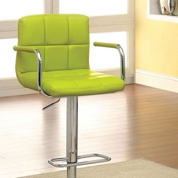 Furniture of america CM-BR6917-LM Corfu collection contemporary style lime leather like vinyl adjustable swivel bar stool with tufted backrest