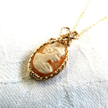 Antique, Italian Shell Cameo, Wire Wrapped Cameo, Peach Coral Color, 14 k Gold Filled, Handmade Jewelry, Chain Included, Gift Box included