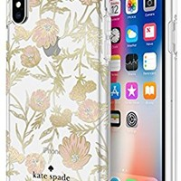 kate spade new york Cell Phone Case for iPhone X - Multi Blossom Pink/Gold with Gems