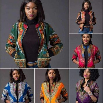 H&D African Tradition Retro ethnic African dashiki fashion jacket African print jacket zipper