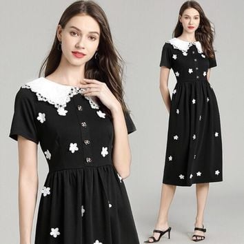 HCXX 19July 695 Valentino Lace doll collar three-dimensional flower waist waist long dress