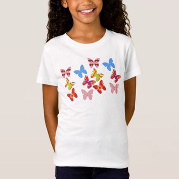 Girls Pretty Butterflies Tee Shirt